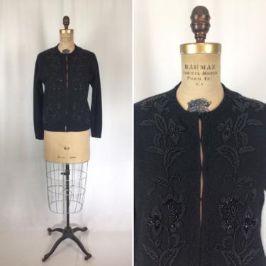 Vintage 50s beaded Cardigan | Vintage black wool beaded Cardigan | 1950's evening sweater jumper by BeeandMason