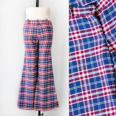 1970s Bell Bottoms Low Rise Plaid Cotton Pants XS by dejavintageboutique