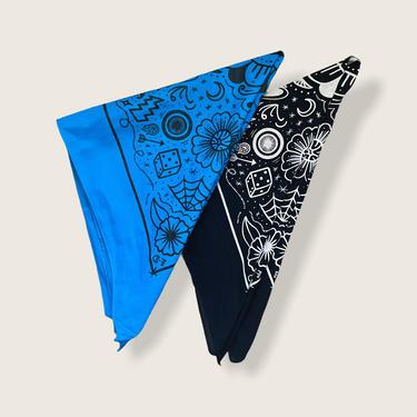 Fast Doll custom screen printed tattoo flash bandana - black or blue by FastDoll