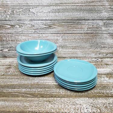 Vintage Boontonware Dishes, Turquoise Blue Dinnerware, Plastic Melamine Melmac Dish Set, 1950s Bowls & Plates Kitchen Decor, Vintage Kitchen by AGoGoVintage
