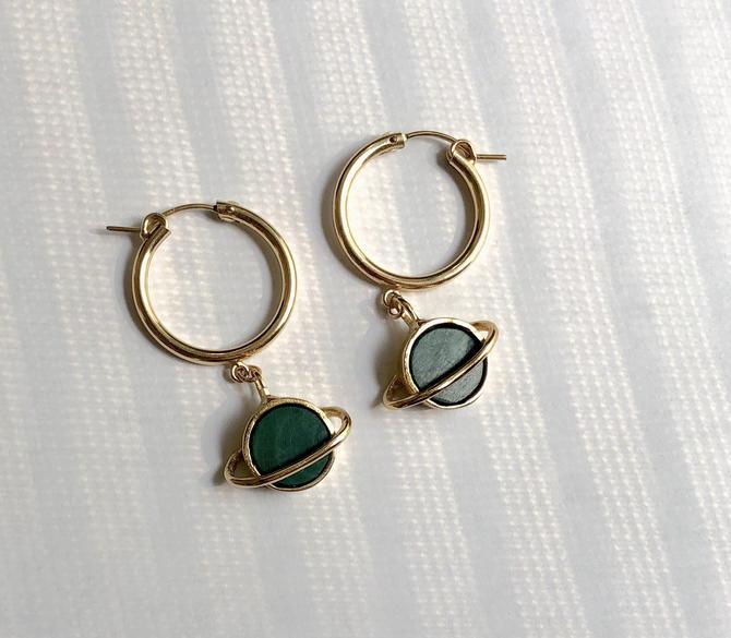 Gold and Malachite Saturn Hoops Space Astronaut Earrings by RachelPfefferDesigns