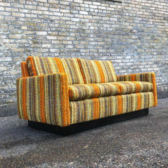 Vintage Hammary Loveseat In Bold Striped Fabric