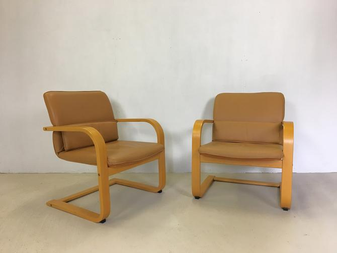 Pair of Bentwood and Vinyl Lounge Chairs for Conran by retrocraftdesign