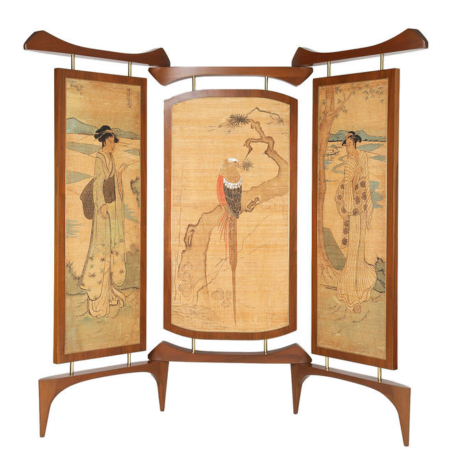 Frank Kyle Extraordinary 3 Panel Screen with Japanese Motif 1950s