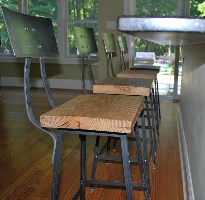 "Bar/Breakfast Bar stool. Farmhouse modern seating Qty (1) 30"" barheight stool with back. by UrbanWoodGoods"