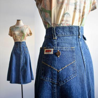 1970s Frox of London Denim Skirt XS by milkandice