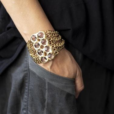18k Gold Plated Crystal and Chain Simone Cuff