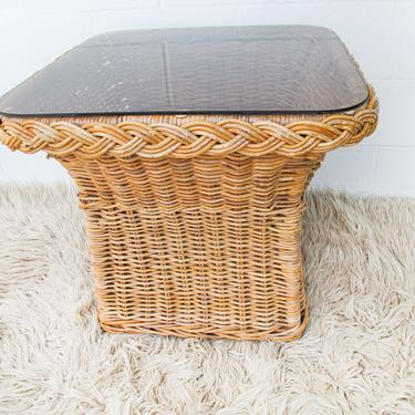 Vintage Woven Side Table with Frosted Black Glass Top by PortlandRevibe