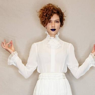 1970s White Sheer Blouse Frilly Lace jabot Collar / 70s New Romantic Long Sleeved Button Down Shirt Ruffled Lacy Poet Pogia d. Polimeni / M by RareJuleVintage