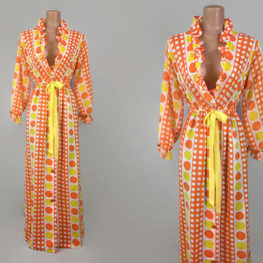 VINTAGE 60s Orange & Yellow Polka Dot Ruffled Dressing Gown | 1960s Pop-Art Robe Housecoat | Long Sheer Bishop Sleeves | Maxi Cover-Up Dress by IntrigueU4Ever