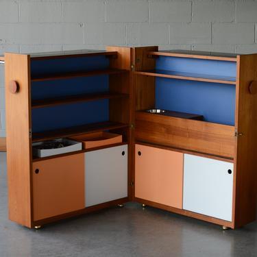 Vintage Jackknife Bar Cabinet Mid Century Danish Teak by MadsenModern
