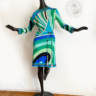 MOD Vintage 60s Emilio Pucci Dress + Rare Beaded Tassel Tie Belt • Silk Jersey Blue Green Turquoise • Genuine Signed • 1960s Twiggy Go-Go by elliemayhems