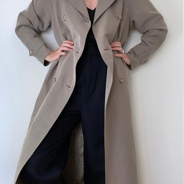 vintage minimalist grey double breasted trench coat / rain jacket by miragevintageseattle