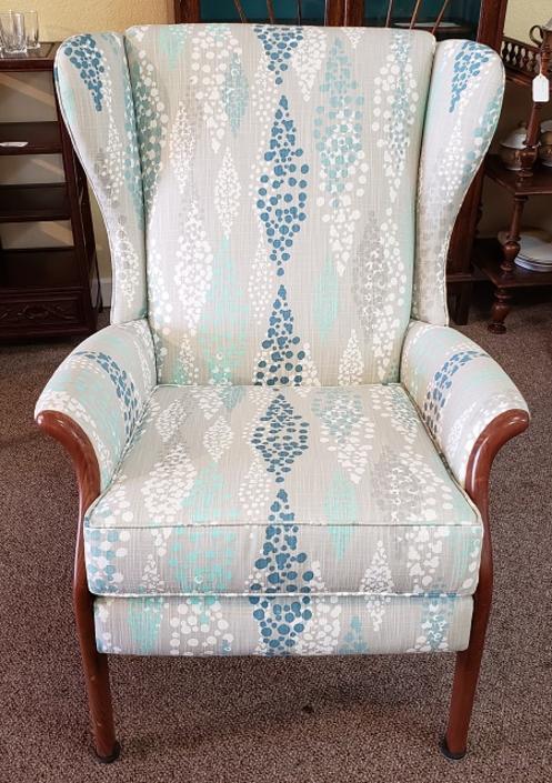 Item #DMC173 Vintage Upholstered Wing Back Arm Chair c.1970