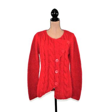 Alpaca Wool Cable Knit Red Cardigan Women Medium, Button Up Offset Asymmetrical Sweater, Casual Clothes Vintage Clothing, Sao Paulo Size 10 by MagpieandOtis