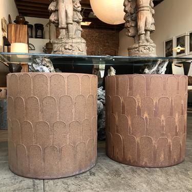 Pair Stoneware 'Leaf Pattern' Planters