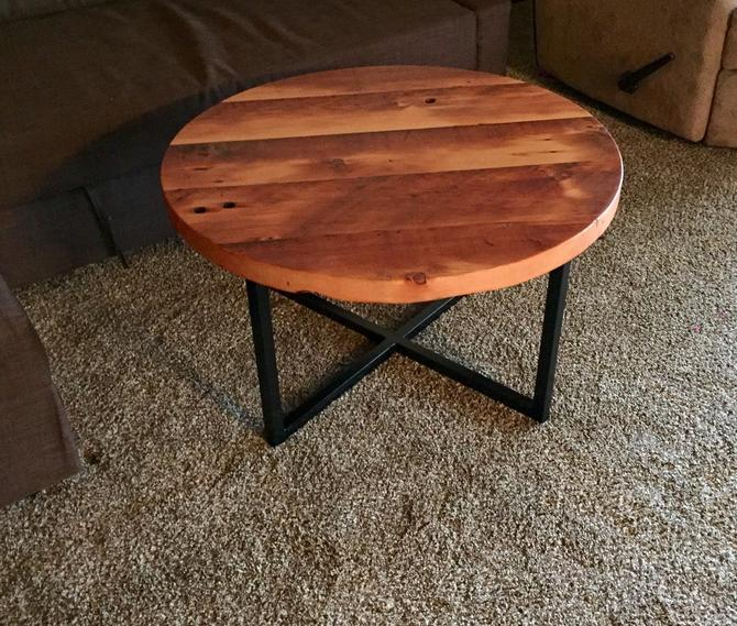 Coffee table.Industrial end table. Industrial nightstand. Reclaimed wood nightstand. Reclaimed wood end table. Round side table. Wood and st by UrbanIndustrialNW