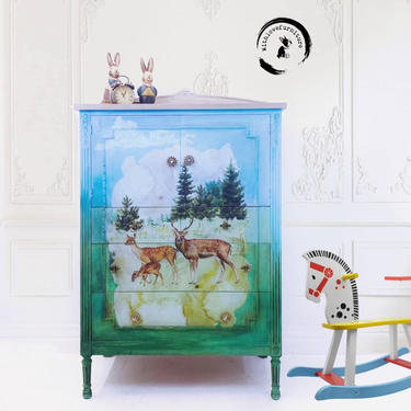Hand Painted Nature Inspired Vintage Dresser. Nursery, Playroom, Child's Bedroom Furniture. Chest of Drawers. Rustic Country Dresser by withlovefurniture10