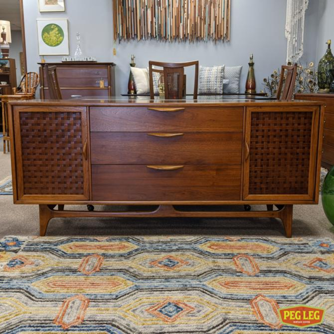 Mid-Century Modern walnut credenza from the 'Perception' collection by Lane