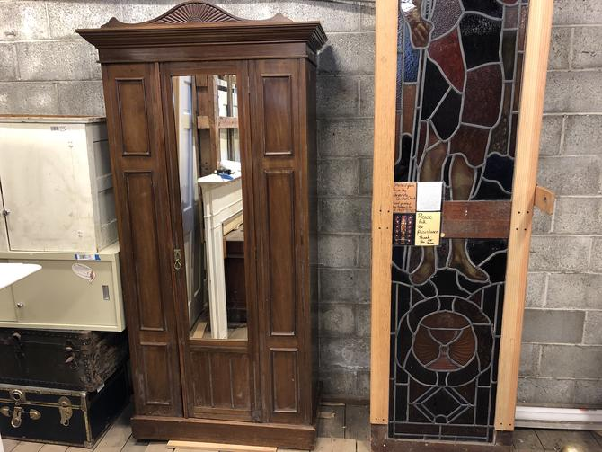 """Large  wooden armoire with mirror 73"""" x 36"""" x 17"""", top crown piece 41"""" x 20"""" x 8"""""""
