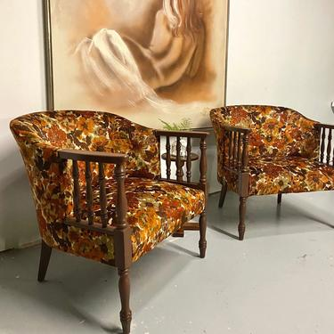 MCM Velour Pair of Arm Chairs, Set of Two Boho Accent Chairs, Mid Century Chairs, Boho Livingroom by VivaLaVintagedotTX