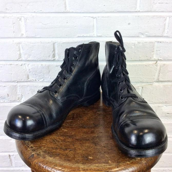 4f36665c7595d Size 12 Wide Vintage 1960s US Navy Black Low Quarter Cap Toe Ankle Boots  Service Shoes by BriarVintage