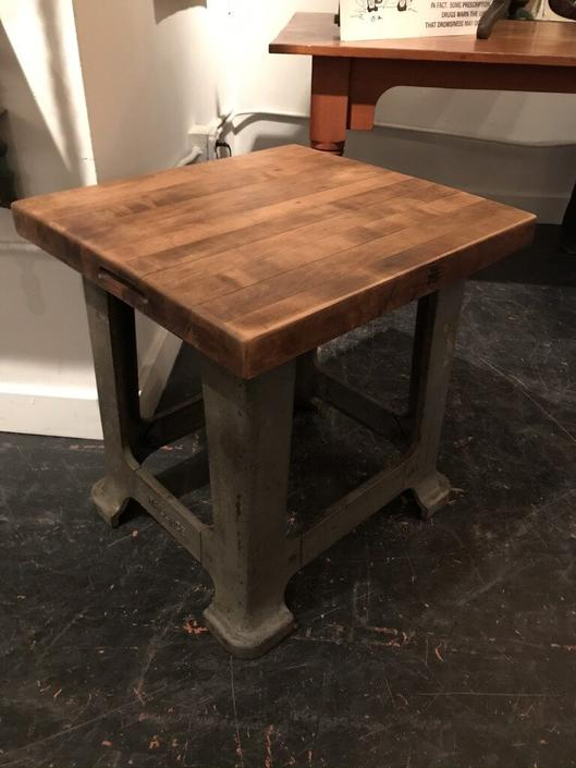 Steel Wood Top Side Table