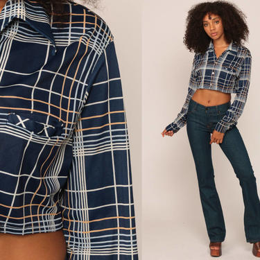 f50f4805 Crop Top 70s Shirt Button Up Blouse Long Sleeve Checkered Plaid ...