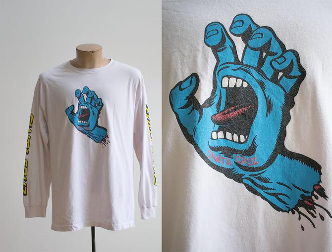 Vintage 90s Santa Cruz Tshirt / Vintage Longsleeve Santa Cruz Tee / 90s Skate Tee / 90s Skateboard Tee / Screaming Hand Santa Cruz Tee by milkandice