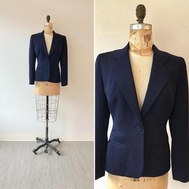Bond 40s Jacket | Vintage navy gabardine blazer | 1940s tailored navy Bond Fifth Avenue suit jacket by BeeandMason