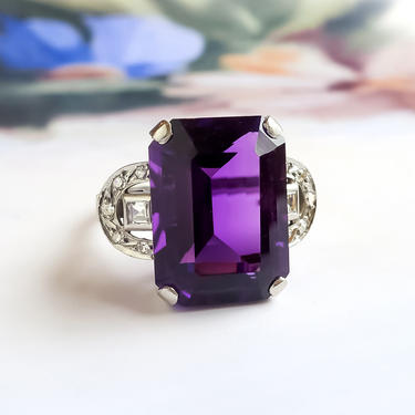 Retro 1940's 5.60ct t.w. Emerald Cut Siberian Amethyst and Carre Cut and Single Cut Diamond Cocktail Statement Ring Platinum by YourJewelryFinder