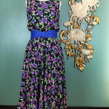1980s rayon dress, black floral dress, vintage 80s dress, full skirt dress, sleeveless dress, medium, dress with pockets, blouson, 28 29 30 by BlackLabelVintageWA