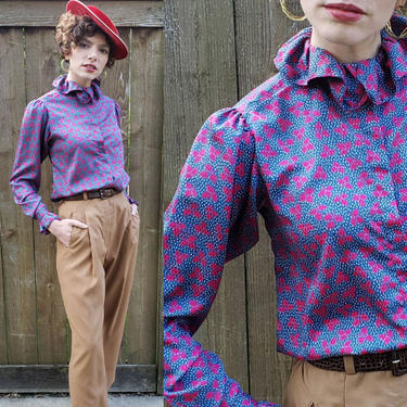 1970s Colorful Blouse Purple Red Blue Leaf Pattern /70s Ruffled Collar Button Down Shirt New Romantic Long Sleeved Evan Picone / Arla M by RareJuleVintage