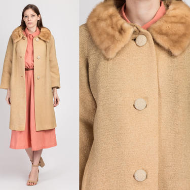 50s 60s Stevens Hockanum Topaz Fur Collar Coat - Medium | Vintage Wool Tweed Button Up Swing Jacket by FlyingAppleVintage