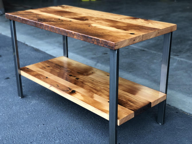 Reclaimed wood table with shelf. Salvaged table. Old table. Industrial table. Kitchen table. Wood and steel table. Bathroom vanity. by UrbanIndustrialNW