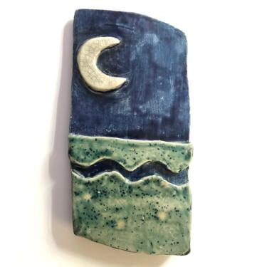 """Unique Moon and Ocean Ceramic Wall Art Plaque is hand built with crackle and blue glaze 3.25"""" W x 6"""" H by MadCoolNYC"""