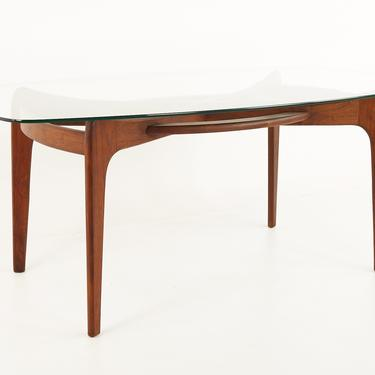 Adrian Pearsall 2179-T Mid Century Glass and Walnut Compass Dining Table - mcm by ModernHill