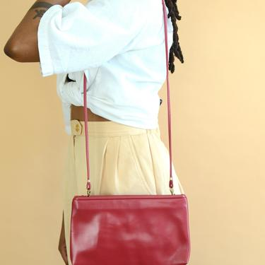 Vintage Red Wine Faux Leather Purse / Shoulder Bag by MAWSUPPLY