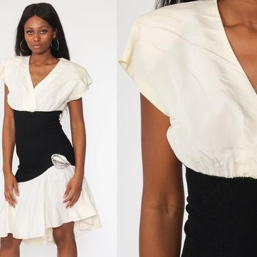 Taffeta Party Dress 80s Black Off-White Rosette Prom Dress Midi Cocktail Formal Dress 1980s Cap Sleeve Vintage 90s Medium by ShopExile