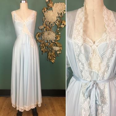 olga designer collection, 1970s peignoir set, vintage nightgown and robe, ice blue nylon, small, vintage lingerie, style 92076, sexy, rare by BlackLabelVintageWA