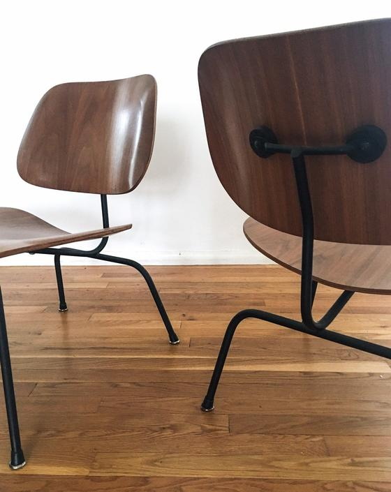Rare Pair of 1954 LCM Eames chairs marked black frame by CaribeCasualShop