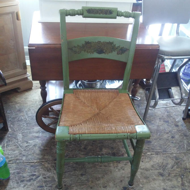 ANTIQUE Hitchcock Style Rush Seat Side Chair (s)// Country Farmhouse Decor// Rustic Country Decor//Antique Green Hand Distressed Wood Finish by 3GirlsAntiques