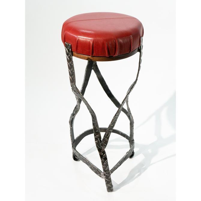 Bar Stool, Industrial Steel / Red Leather / North American Walnut by BlanpiedFurniture
