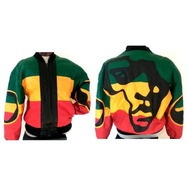VINTAGE Michael HOBAN green yellow red AFRICA Leather Jacket Coat African Ethiopian colors jacket black panther bomber men's women's xl by ShopRVF