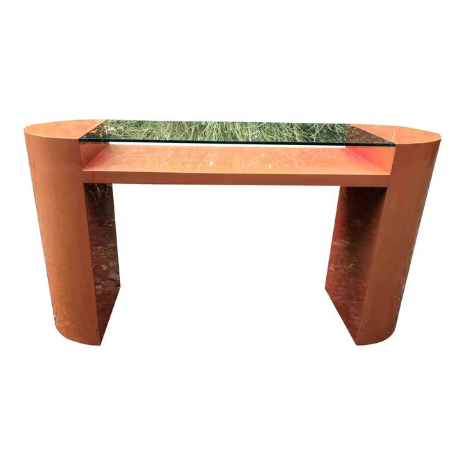 Vintage Lacquer Console Table Floating Glass