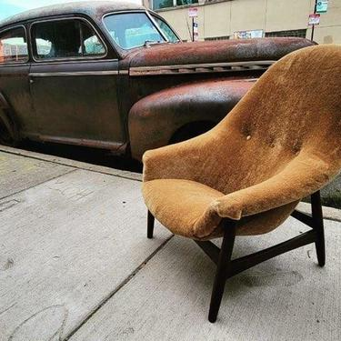 Mid Century Modern Danish Hans Olsen for Bramin High Back Teak Base Lounge Chair Newly Upholstered