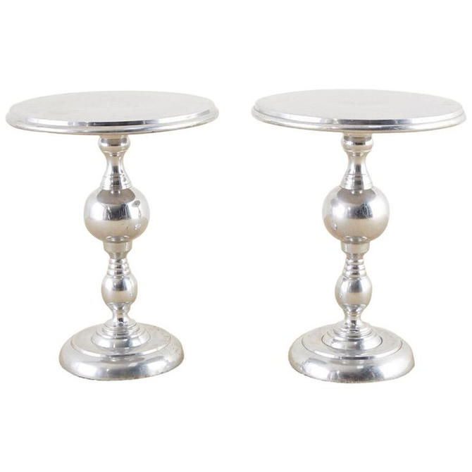 Pair of Polished Metal Round Pedestal Drink Tables by ErinLaneEstate