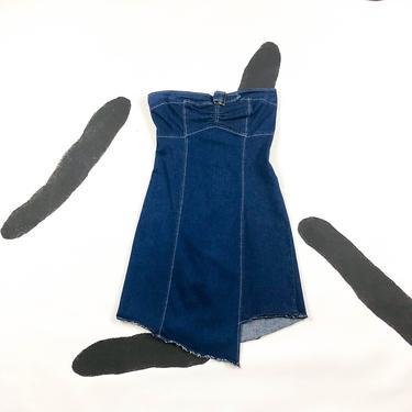 90s / Y2k Stretch Denim Tube Dress / Asymmetrical / y2k / Raw Hem / Small / Jean / Denim / Destiny's Child / 00s / Strapless / Buckle / Rag by shoptrashdotnet