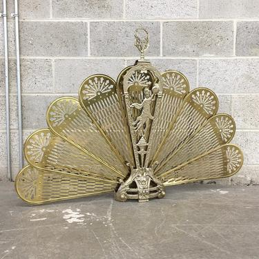 Vintage Fireplace Screen Retro 1980s Victorian Style + Peacock Fan + Lady Phoenix + Ornate + Folding + Gold Brass + Home Accent and Decor by RetrospectVintage215