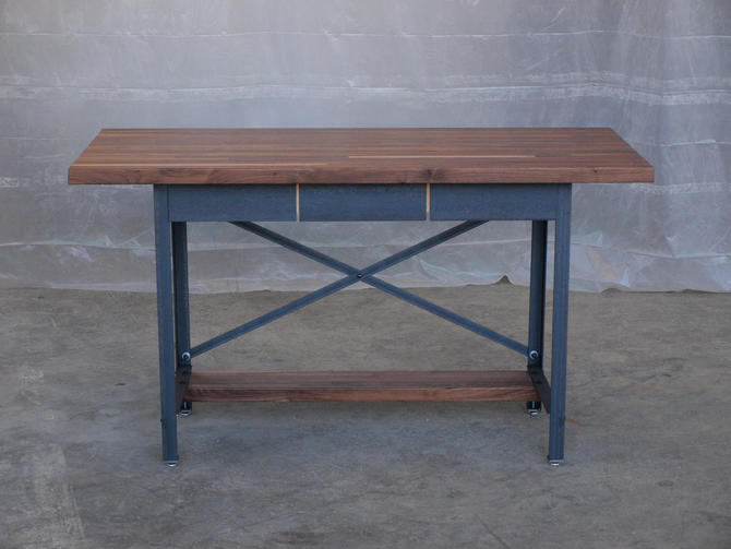 Walnut Industrial Engineering Work Station Desk Table by CamposIronWorks